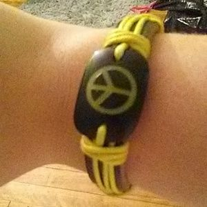 Yellow hippie peace bracelet